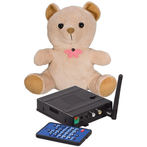 KJB Security Products SC7022 Xtreme Life Wireless Teddy Bear Indoor Covert Color Camera with QUAD Receiver (NTSC)