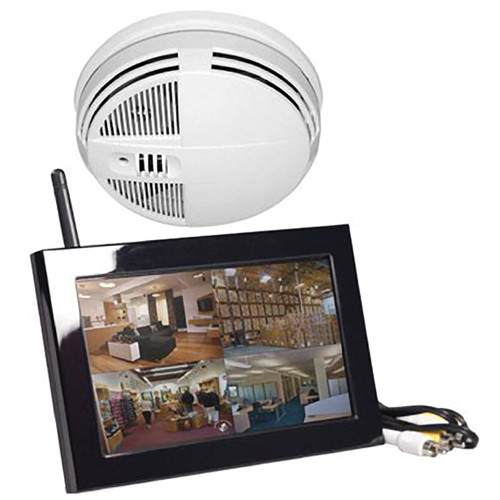 KJB Security Products SC7400 Xtreme Life Night-Vision Smoke Detector Covert Indoor Color IR Camera with QUAD LCD Receiver (Bottom-View, NTSC)