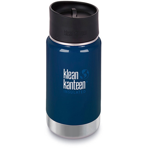 Klean Kanteen Vacuum Insulated Wide 12 oz Water Bottle with Cafe Cap (Deep Sea)