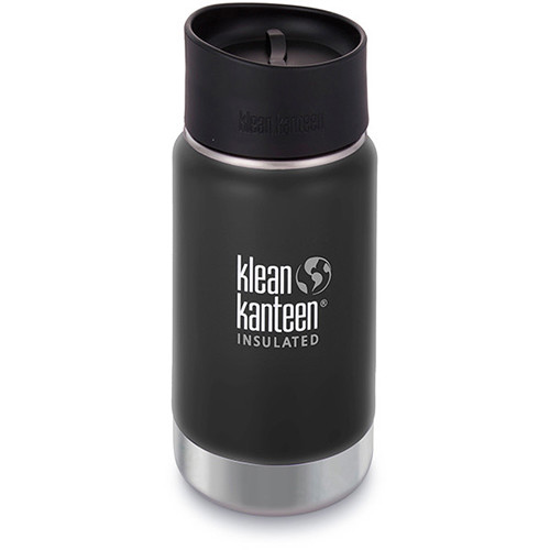 Klean Kanteen Insulated Wide Travel Mug with Cafe Cap 2.0 (12 fl oz, Shale Black)