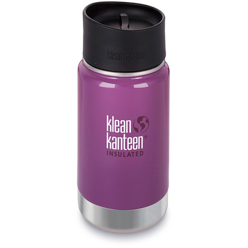 Klean Kanteen Vacuum Insulated Wide 12 oz Water Bottle with Cafe Cap (Wild Grape)