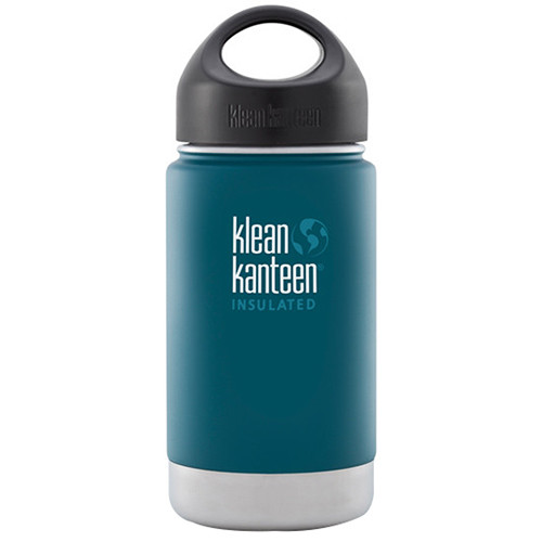 Klean Kanteen Vacuum Insulated Wide Water Bottle with Loop Cap (12 fl oz, Neptune Blue)
