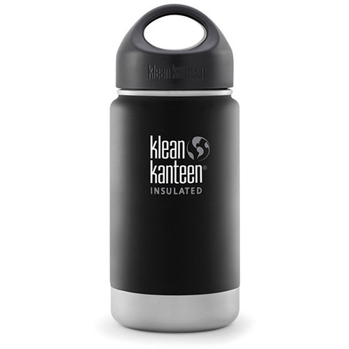 Klean Kanteen Vacuum Insulated Wide Water Bottle with Loop Cap (12 fl oz, Shale Black)