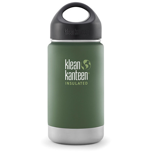 Klean Kanteen Vacuum Insulated Wide 12 oz Water Bottle with Loop Cap (Vineyard Green)