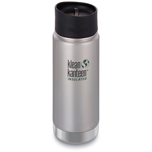 Klean Kanteen Insulated Wide Travel Mug with Cafe Cap 2.0 (16 fl oz, Brushed Stainless)