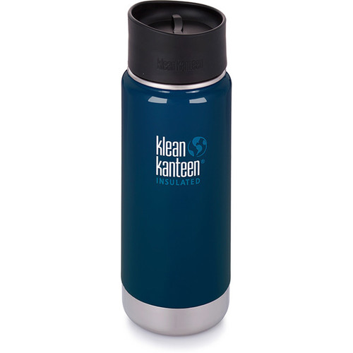 Klean Kanteen Insulated Wide Travel Mug with Cafe Cap 2.0 (16 fl oz, Deep Sea)