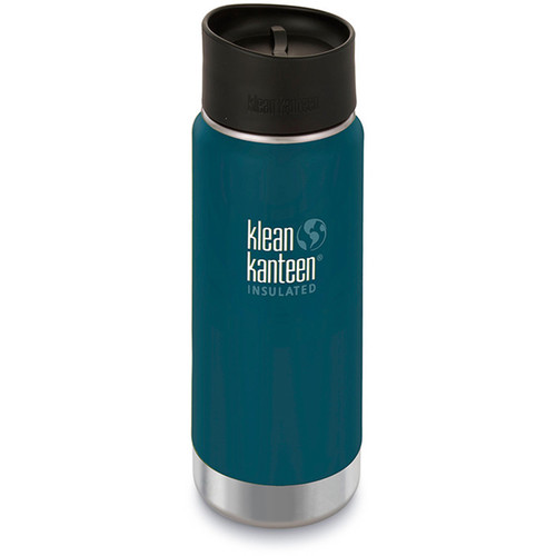 Klean Kanteen Insulated Wide Travel Mug with Cafe Cap 2.0 (16 fl oz, Neptune Blue)