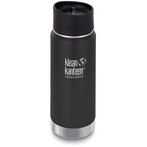 Klean Kanteen Insulated Wide Travel Mug with Cafe Cap 2.0 (16 fl oz, Shale Black)