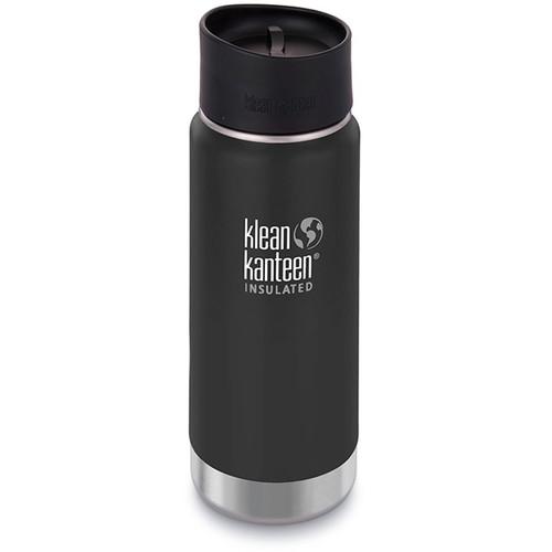 Klean Kanteen Insulated Wide Travel Mug with Cafe Cap 2.0 (16 fl oz, Shale Black)