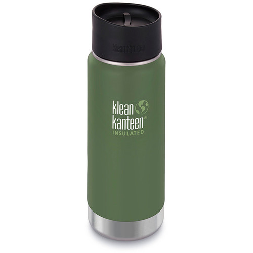 Klean Kanteen Vacuum Insulated Wide 16 oz Water Bottle with Cafe Cap (Vineyard Green)
