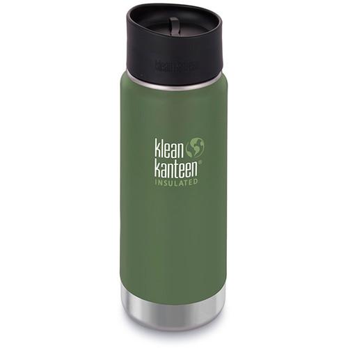 Klean Kanteen Insulated Wide Travel Mug with Cafe Cap 2.0 (16 fl oz, Vineyard Green)