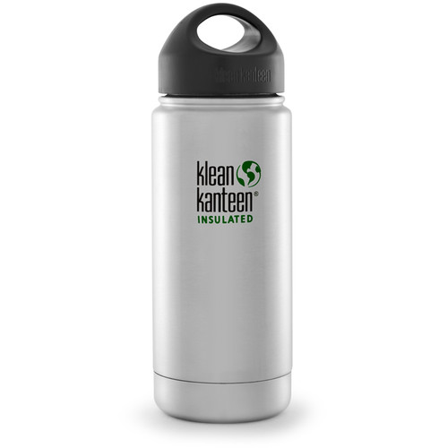 Klean Kanteen Vacuum Insulated Wide Water Bottle with Loop Cap (16 fl oz, Brushed Stainless)