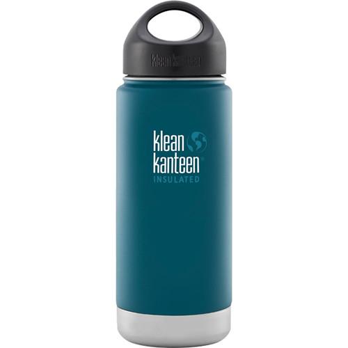 Klean Kanteen Vacuum Insulated Wide 16 oz Water Bottle with Loop Cap (Neptune Blue)