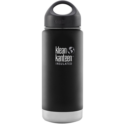 Klean Kanteen Vacuum Insulated Wide Water Bottle with Loop Cap (16 fl oz, Shale Black)