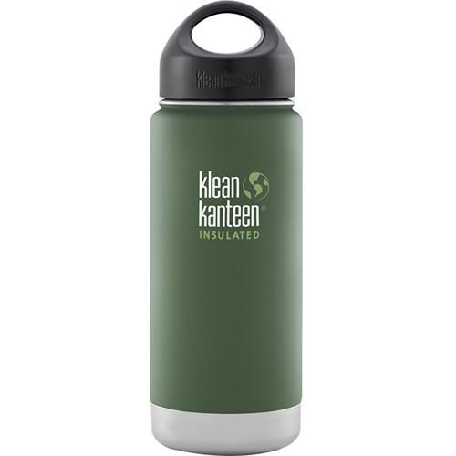 Klean Kanteen Vacuum Insulated Wide Water Bottle with Loop Cap (16 fl oz, Vineyard Green)
