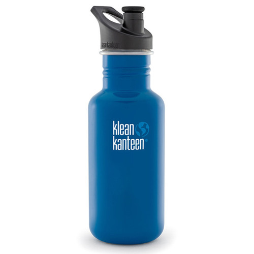 Klean Kanteen Classic Stainless Steel Water Bottle with Sport Cap (18 fl oz, Blue Planet)