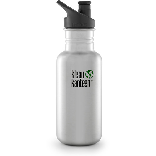 Klean Kanteen Classic Stainless Steel Water Bottle with Sport Cap (18 fl oz, Brushed Stainless)