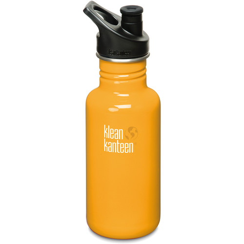 Klean Kanteen Classic Stainless Steel Water Bottle with Sport Cap (18 fl oz, Flame Orange)