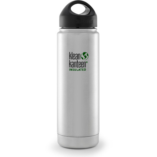 Klean Kanteen Vacuum Insulated Wide 20 oz Water Bottle with Loop Cap (Brushed Stainless)