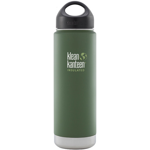 Klean Kanteen Vacuum Insulated Wide 20 oz Water Bottle with Loop Cap (Vineyard Green)