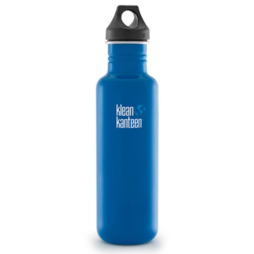 Klean Kanteen Classic Stainless Steel Water Bottle with Loop Cap (27 fl oz, Blue Planet)