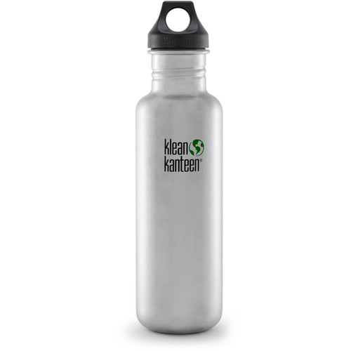 Klean Kanteen Classic Stainless Steel Water Bottle with Loop Cap (27 fl oz, Brushed Stainless)