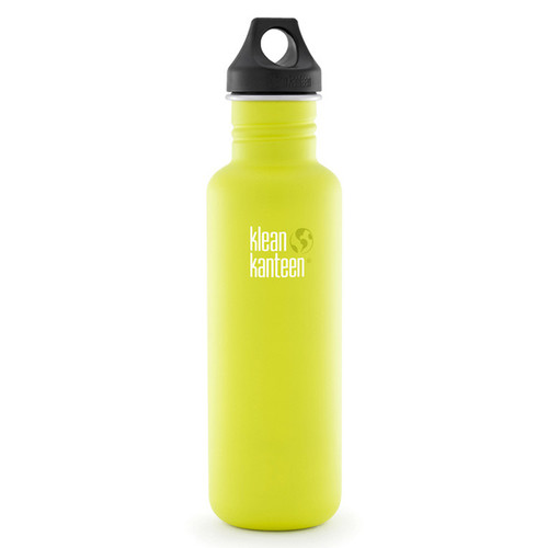 Klean Kanteen Classic Stainless Steel Water Bottle with Loop Cap (27 fl oz, Lime Pop)