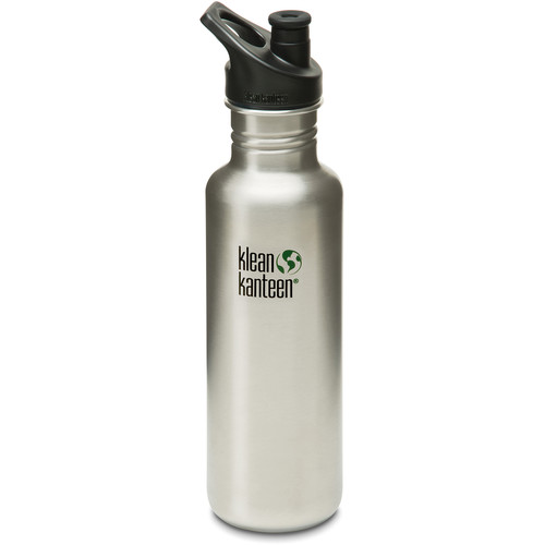 Klean Kanteen Classic Stainless Steel Water Bottle with Sport Cap (27 fl oz, Brushed Stainless)