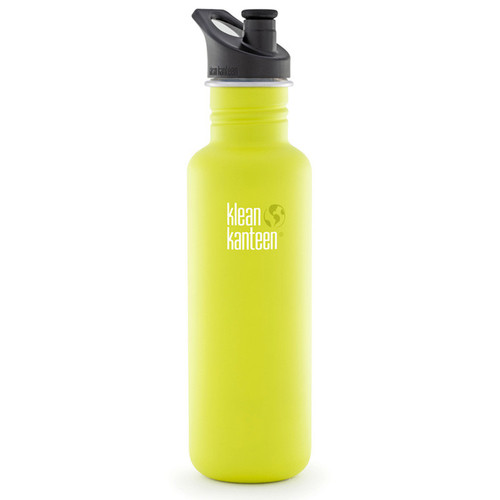 Klean Kanteen Classic Stainless Steel Water Bottle with Sport Cap (27 fl oz, Lime Pop)