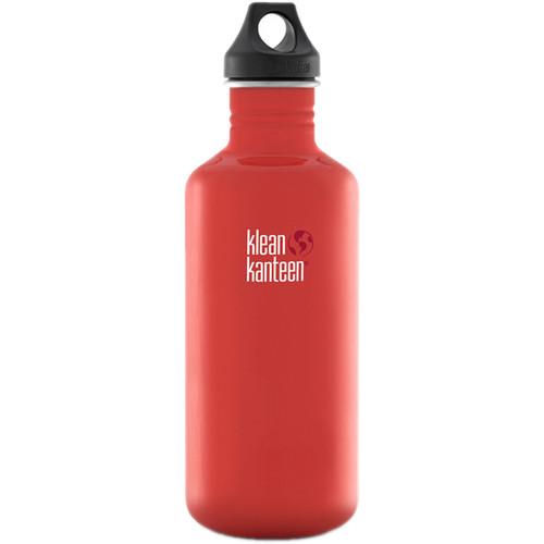 Klean Kanteen Classic Stainless Steel Water Bottle with Loop Cap (40 fl oz, Flame Orange)