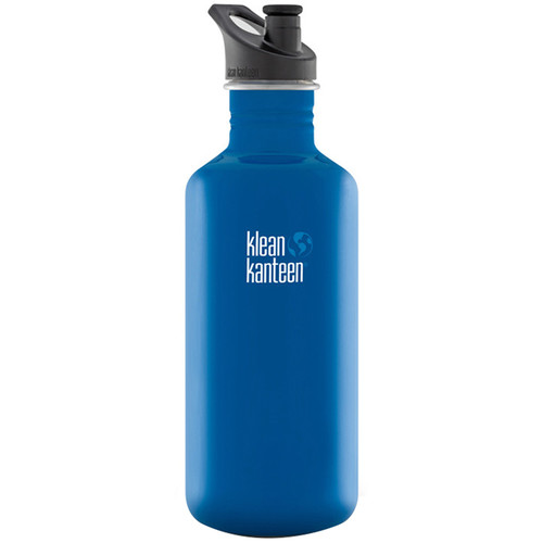 Klean Kanteen Classic Stainless Steel Water Bottle with Sport Cap (40 fl oz, Blue Planet)