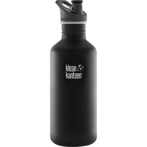 Klean Kanteen Classic Stainless Steel Water Bottle with Sport Cap (40 fl oz, Shale Black)