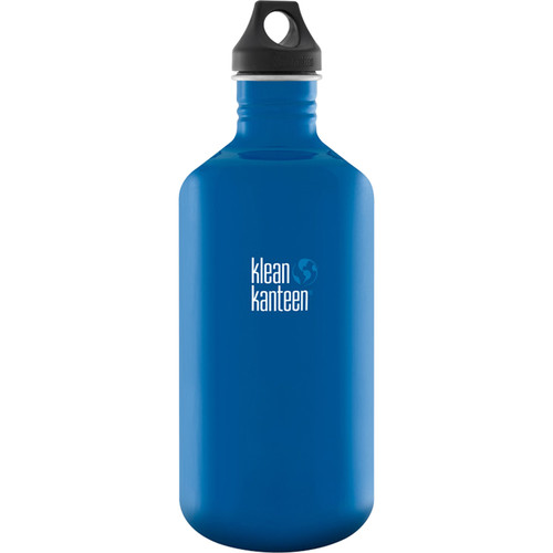 Klean Kanteen Classic 64 oz Stainless Steel Water Bottle with Loop Cap (Blue Planet)