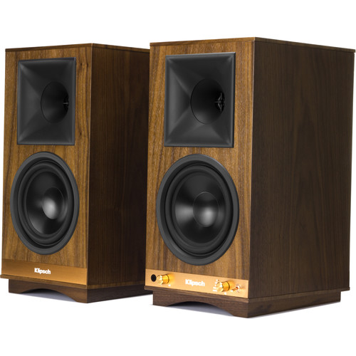 Klipsch The Sixes 2-Way Powered Bookshelf Loudspeakers (Walnut, Pair)