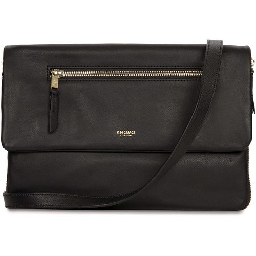 "KNOMO USA Elektronista Digital Leather Cross-Body Clutch Bag 10"" (Black)"