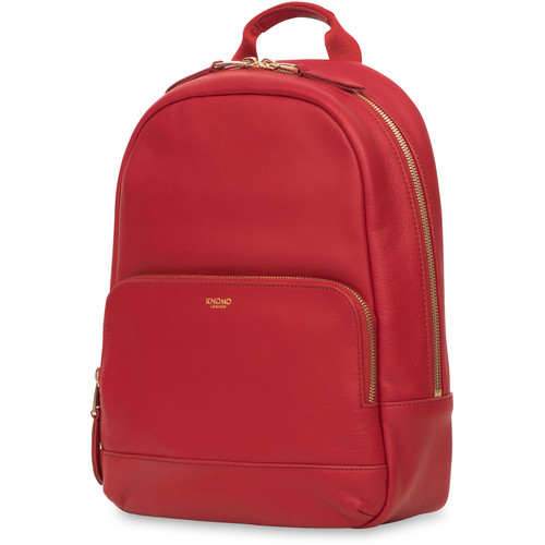 """KNOMO USA Mini Mount Small Leather Backpack for 10"""" Tablet (Chilli)"""