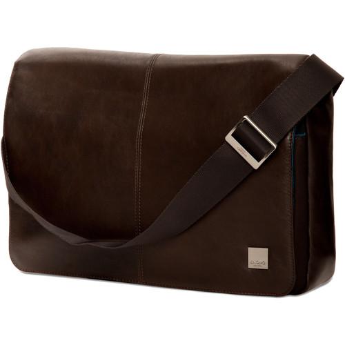 "KNOMO USA Kinsale Slim Cross-Body Messenger Bag for 13"" Laptop (Brown)"