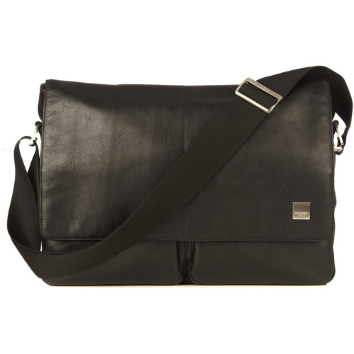 "KNOMO USA 15"" Kobe Leather Laptop Messenger Bag (Black)"