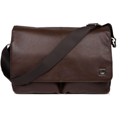 "KNOMO USA 15"" Kobe Leather Laptop Messenger Bag (Brown)"