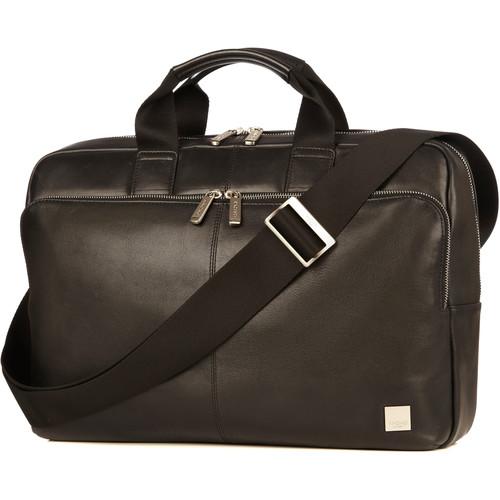 "KNOMO USA Newbury Leather Briefcase for 15"" Laptop (Black)"