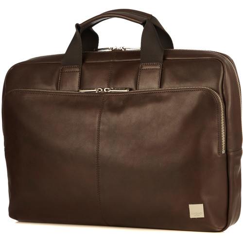 """KNOMO USA Newbury Leather Briefcase for 15"""" Laptop (Brown)"""