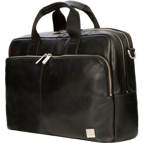 "KNOMO USA Amesbury Double-Zip Leather Briefcase for 15"" Laptop (Black)"