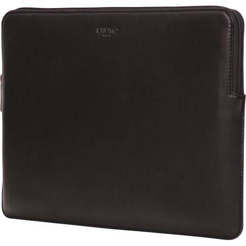 "KNOMO USA 13"" Leather Laptop Sleeve-Macbook Pro/Macbook Air (Black)"