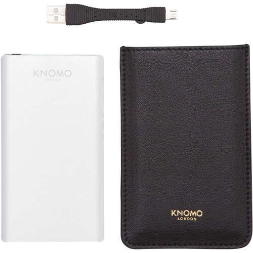 KNOMO USA 5000mAh Portable Battery Power Pack for Smartphones & Tablets (Silver)