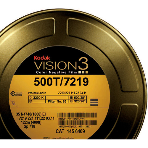 Kodak VISION3 500T Color Negative Film #7219 (16mm, 400' Roll, Single Perf)