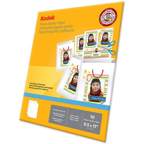 "Kodak Photo Sticker Paper (8.5 x 11"", 10 Sheets)"