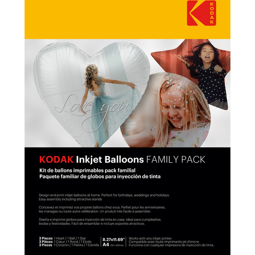 Kodak Inkjet Balloons (1 Heart, 1 Ball, 1 Star)