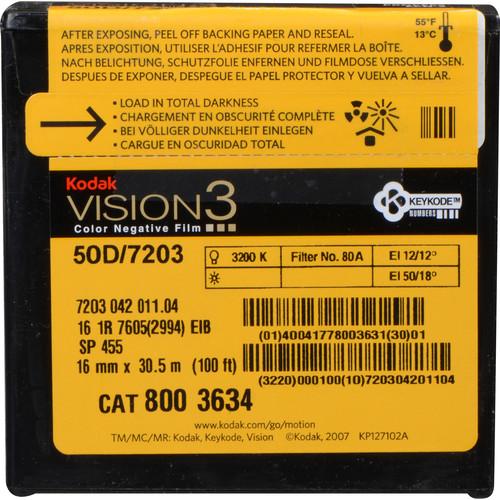 Kodak VISION3 50D Color Negative Film #7203 (16mm, 100' Roll, Single Perf)
