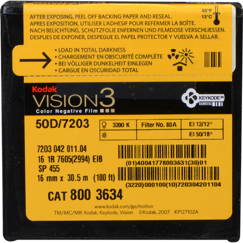 Kodak VISION3 50D Color Negative Film #7203 (16mm, 100' Roll)