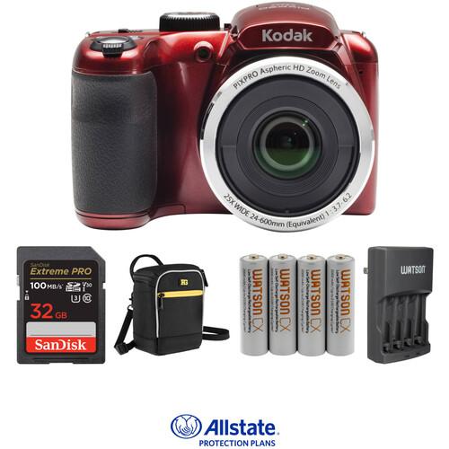 Kodak PIXPRO AZ252 Digital Camera Deluxe Kit (Red)